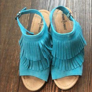 Minnetonka Suede Fringe Wedge Sandals